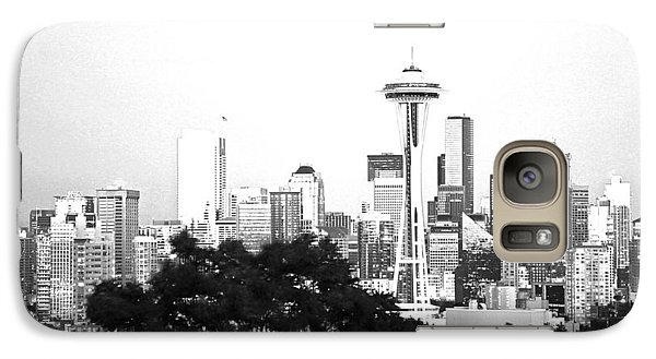 Galaxy Case featuring the photograph Black And White Abstract City Photography...seattle Space Needle by Amy Giacomelli