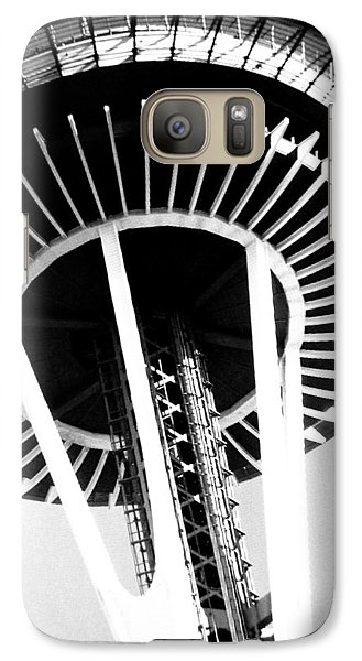 Galaxy Case featuring the photograph Black And White Abstract City Photography...space Needle by Amy Giacomelli