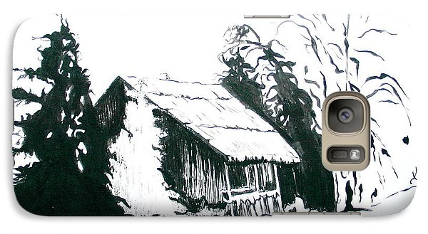 Galaxy Case featuring the drawing Black And White Barn In Snow by Joyce Gebauer