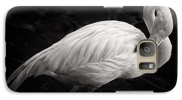 Flamingo Galaxy S7 Case - Black And White Flamingo by Adam Romanowicz