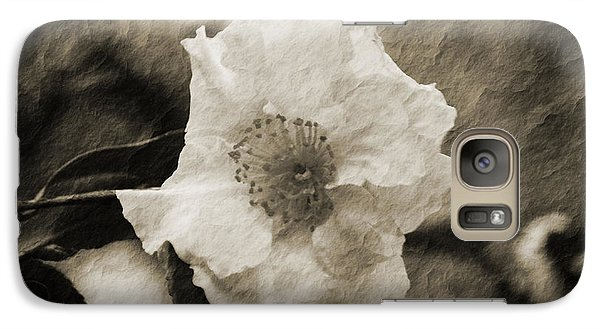 Galaxy Case featuring the photograph Black And White Flower With Texture by Maggy Marsh