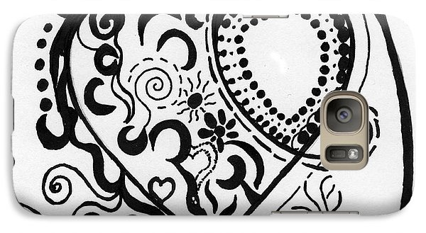 Galaxy Case featuring the drawing Black And White Heart by Christine Perry