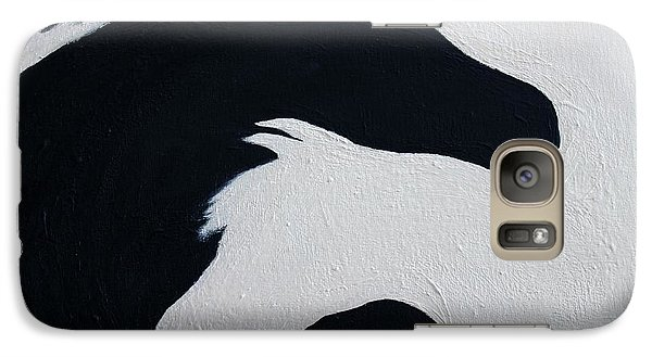 Galaxy Case featuring the painting Black And White Horses Together Forever by Barbie Batson