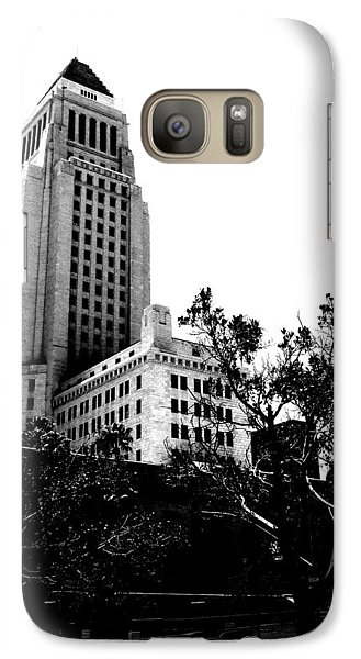Galaxy Case featuring the photograph Black And White Los Angeles Abstract City Photography...la City Hall by Amy Giacomelli