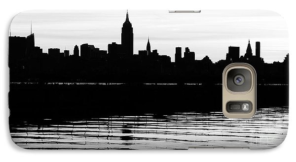 Galaxy Case featuring the photograph Black And White Nyc Morning Reflections by Lilliana Mendez