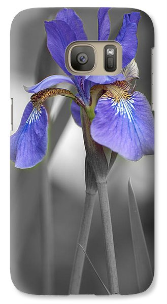 Galaxy Case featuring the photograph Black And White Purple Iris by Brenda Jacobs