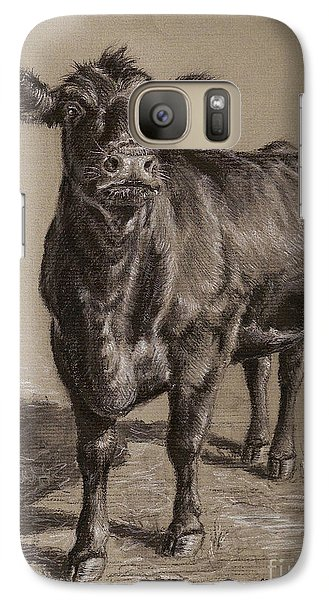 Cow Galaxy S7 Case - Black Angus Cow 1 by Nicole Troup