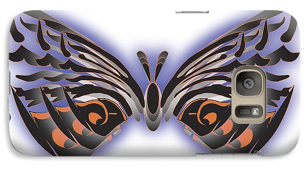 Galaxy Case featuring the digital art Black Blue Orange Butterfly by Christine Perry