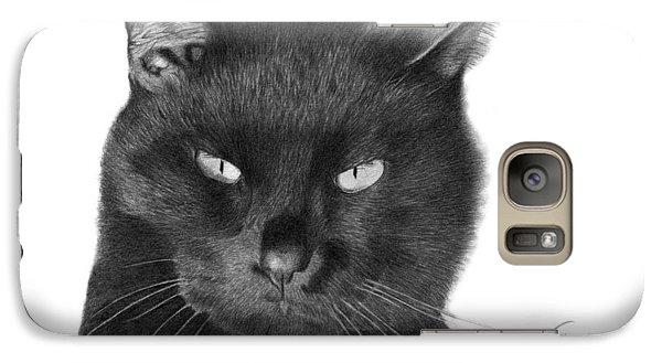 Galaxy Case featuring the drawing Black Cat - 008 by Abbey Noelle