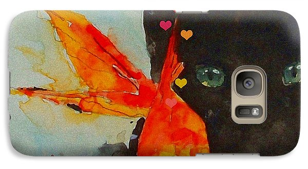 Black Cat And The Goldfish Galaxy S7 Case by Paul Lovering