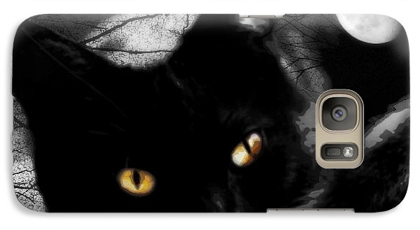 Galaxy Case featuring the digital art Black Cat Golden Eye by Mindy Bench
