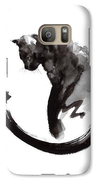 Cat Galaxy S7 Case - Black Cat by Mariusz Szmerdt