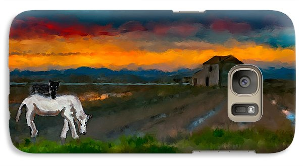 Galaxy Case featuring the photograph Black Cat On A White Horse by Juan Carlos Ferro Duque
