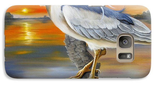 Galaxy Case featuring the painting Black Crowned Night Heron At The Jordan by Phyllis Beiser