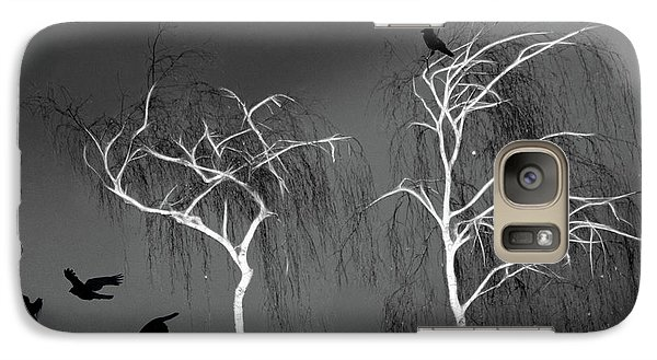 Galaxy Case featuring the photograph Black Crows - White Trees  by Richard Piper