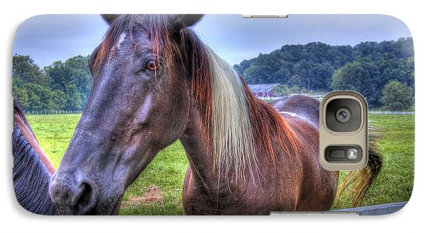 Galaxy S7 Case featuring the photograph Black Horse At A Fence by Jonny D