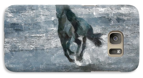 Galaxy Case featuring the painting Black Horse Running On The Beach by Georgi Dimitrov