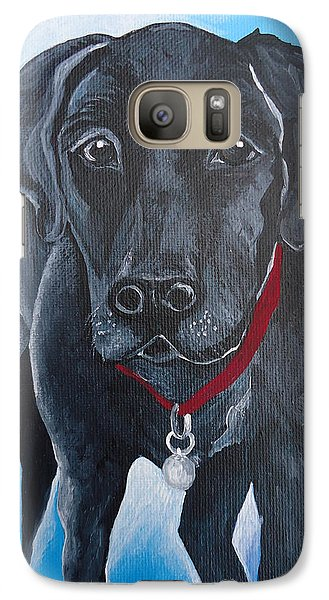 Galaxy Case featuring the painting Black Lab by Leslie Manley