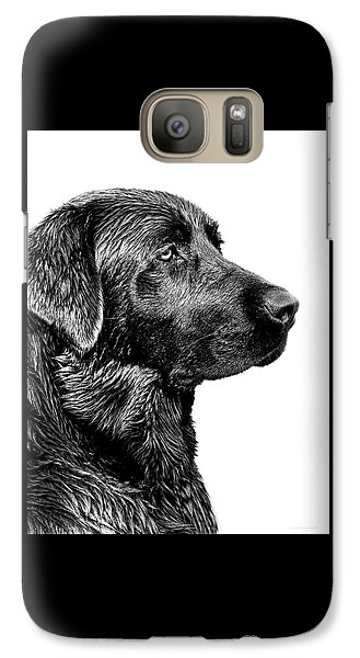 Black Labrador Retriever Dog Monochrome Galaxy S7 Case