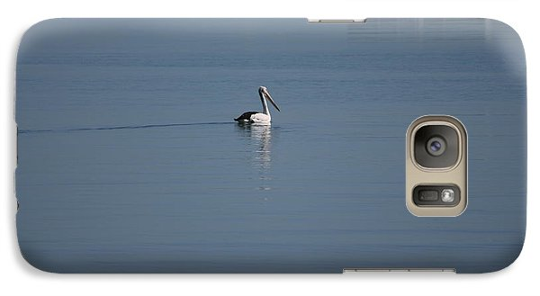 Galaxy Case featuring the painting Black Line Pelican  Calm Water by Phoenix De Vries