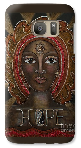 Galaxy Case featuring the painting Black Madonna - Hope by Deborha Kerr