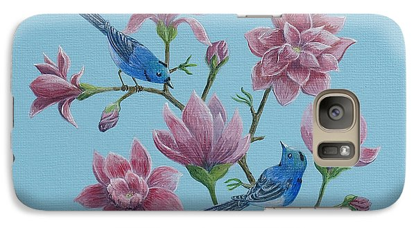 Galaxy Case featuring the painting Black Naped Blue Flycatchers In Magnolias by Anthony Lyon