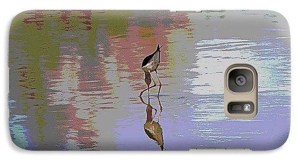 Galaxy Case featuring the photograph Black Neck Stilt Out In The Pond by Tom Janca