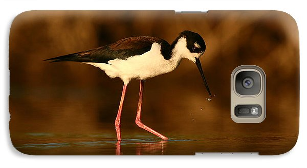 Galaxy Case featuring the photograph Black-necked Stilt Waterdrops by John F Tsumas