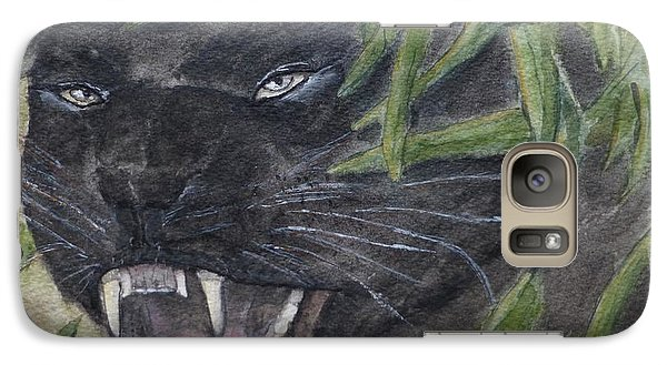 Galaxy Case featuring the painting Black Panther Fury by Kelly Mills