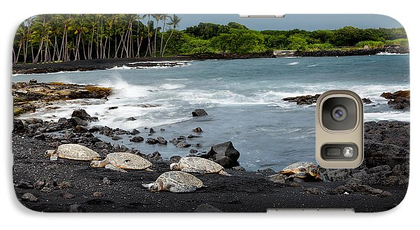 Galaxy Case featuring the photograph Black Sand Beach Turtles by Ed Cilley