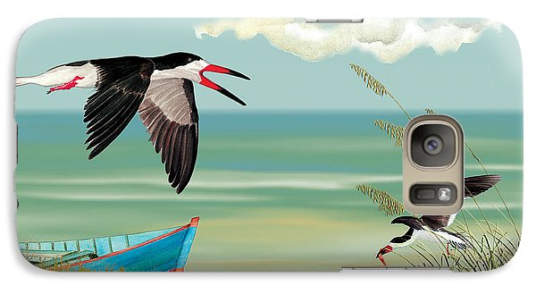 Galaxy Case featuring the painting Black Skimmers Fishing by Anne Beverley-Stamps