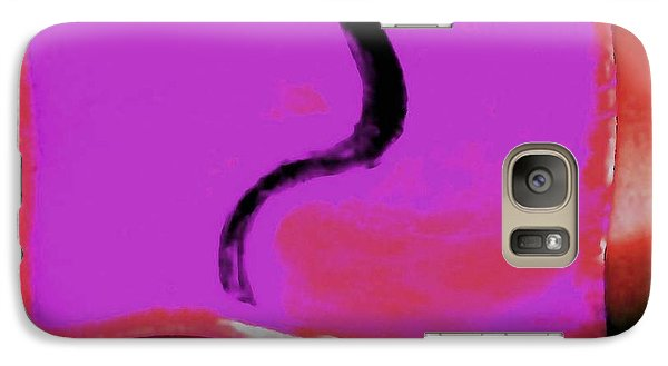 Galaxy Case featuring the digital art Black Snake On Crimson by Phoenix De Vries