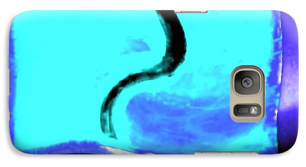 Galaxy Case featuring the digital art Black Snake On Aqua by Phoenix De Vries