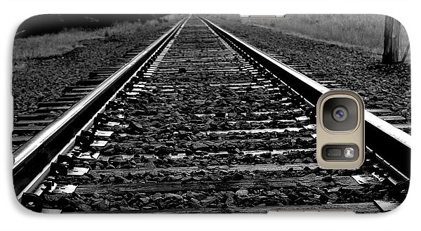 Galaxy Case featuring the photograph Black White Tracks by Karen Kersey