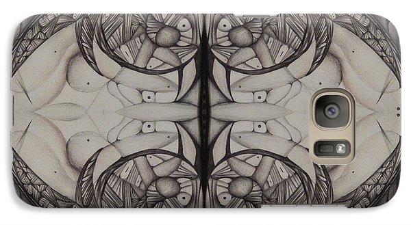 Galaxy Case featuring the drawing Blank Inside Card   Black And White Abstract by Jack Dillhunt