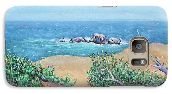 Galaxy Case featuring the painting Bleached Cedar And Ocean Rocks by Asha Carolyn Young