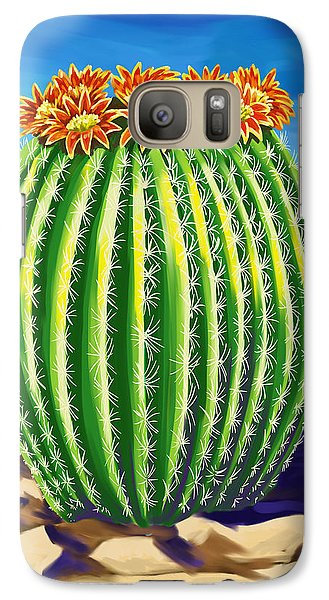 Galaxy Case featuring the painting Blooming Barrel Cactus by Tim Gilliland