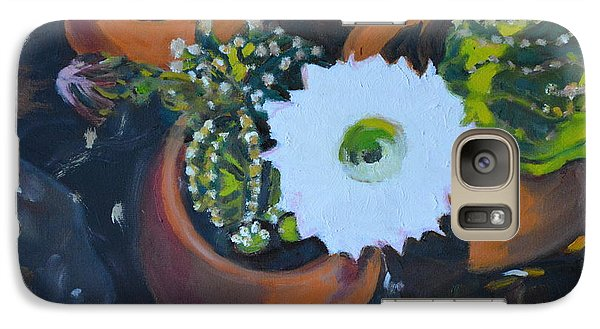 Galaxy Case featuring the painting Blooming Cacti by Julie Todd-Cundiff