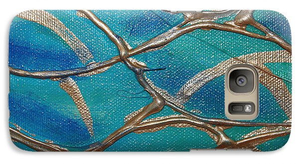 Galaxy Case featuring the photograph Blue And Gold Abstract by Cynthia Snyder