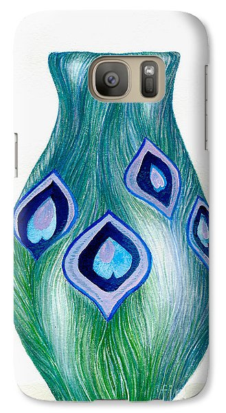 Galaxy Case featuring the painting Blue And Green Peacock Vase by Nan Wright