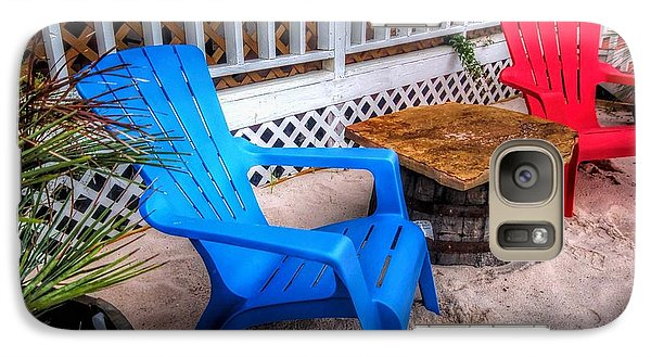 Galaxy Case featuring the digital art Blue And Red Chairs by Michael Thomas