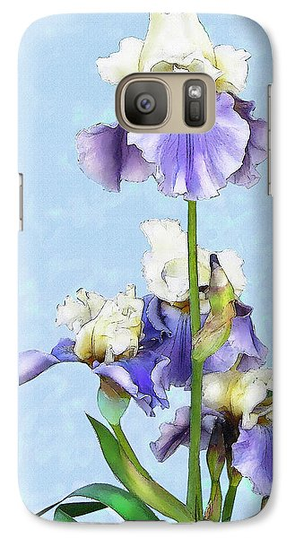 Galaxy Case featuring the digital art Blue And White Iris by Jane Schnetlage