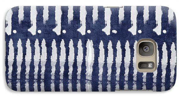 Blue And White Shibori Design Galaxy Case by Linda Woods