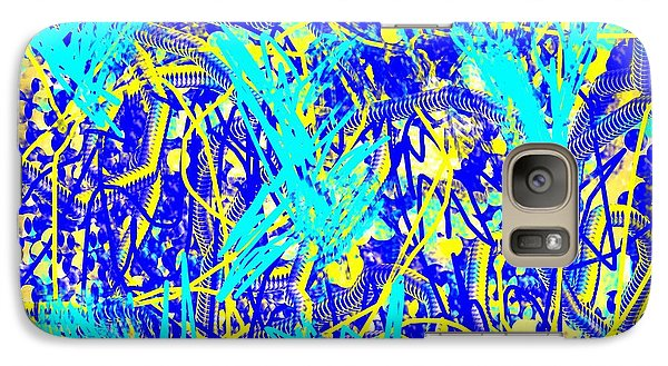 Galaxy Case featuring the painting Blue And Yellow Abstract by Jessica Wright