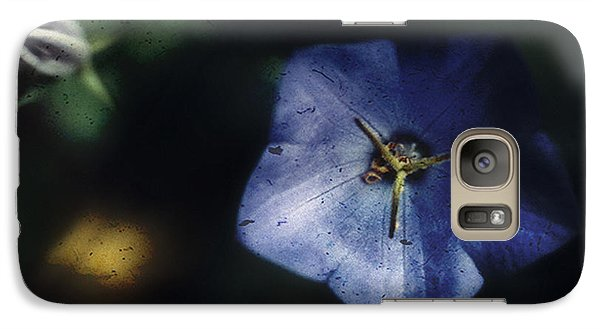 Galaxy Case featuring the photograph Blue Balloon Flower In The Shadows by Louise Kumpf