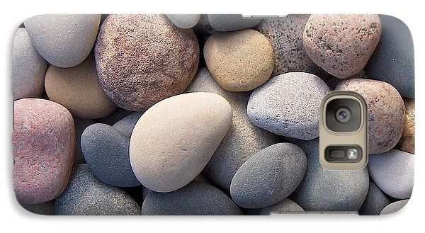 Galaxy Case featuring the photograph Blue Beach Stones by Kathi Mirto