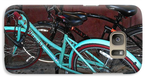 Galaxy Case featuring the photograph Blue Bianchi Bike by Joan Reese