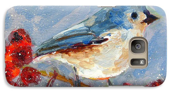 Blue Bird In Winter - Tuft Titmouse Modern Impressionist Art Galaxy S7 Case