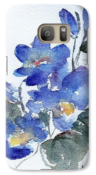 Galaxy Case featuring the painting Blue Blooms by Anne Duke