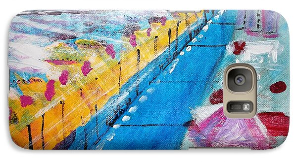 Galaxy Case featuring the painting Blue Boardwalk by Leslie Byrne